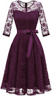 Dressystar Women's Elegant Floral Lace Dress 3/4 Sleeves Bridesmaid Midi Dresses