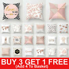 Rose Gold Cushion Covers Pink Theme Geometric Marble Pillow Case Sofa Home Decor