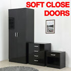 HIGH GLOSS 3 PIECE Bedroom Furniture Set - Wardrobe Chest Bedside Black White