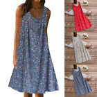 Chic Women Floral Print Dress Sleeveless O Neck Sundress Summer Beach Plus Size