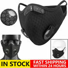 Cycling Face Mask With Active Carbon Filter Breathing Valve Reusable Washable Us