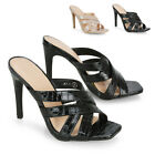 New Womens High Heel Mules Ladies Cross Strap Open Toe Party Sandals Size 3-8