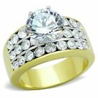 4.25 ct CZ Ring Round Engagement Stainless Steel 14K Gold Plated Sizes 5 6 10
