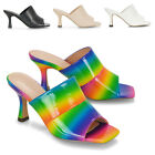 Womens Mid Heel Mules Ladies Open Square Toe Shoes Slip On Heeled Sandals Size