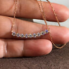 Gorgeous 14k Rose Gold Plated Necklace Pendant Women White Sapphire Jewlery