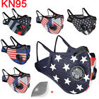 Us Flag Washable Sports Face Mask W/air Purifying Valves + Carbon Filters Pads