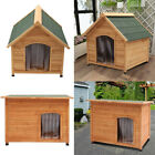 Floor Elevated Dog Kennel Puppy House Shelter Pet Run Outdoor Wooden Animal Hut
