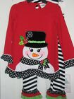 New girls red / black snowman 2-pc outfit by Rare Editions - sz 3-6 12 18 24 mo