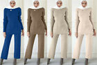 Knitted Two Pieces Set Women Winter Long Sleeve Tops and Long Pants Dubai Muslim