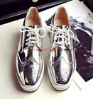 Womens wing tip lace up patent leather loafer wedge heel oxford platform shoes