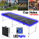 8-Foot Beer Pong Table w/ OPTIONAL Cup Hole & LED Glow Lights Outdoor Game Table