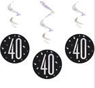 40th Birthday Black Silver,Decoration,Party,Confetti,Balloon,Banner Flag Bunting