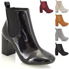NEW WOMENS CHELSEA MID HIGH BLOCK HEEL ELASTICATED LADIES ANKLE BOOTS SHOES SIZE