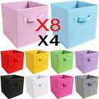4/8 x Foldable Storage Boxes Collapsible Home Clothes Organizer Fabric Cube Bins