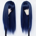 Women Full Neat Bangs Synthetic No Lace Wig Long Straight Heat Resistant Natural