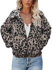 TECREW Women's Fleece Coat Lapel Fuzzy Faux Zip Up Short Pocket Jacket Outwear