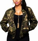 Women's Casual Camouflage Jacket With Pockets Sexy V Neck Long Sleeve Button Dow