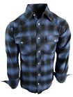 Flannel Plaid Shirt Mens Western Snaps Pockets 8 Cool Muted Colors Long Sleeve