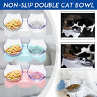 Non-slip Double Pet Bowls with Raised Stand Dog Cat Food Water Feeding Station #