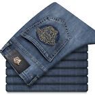 2020 Versace Embroidered Men's Stretch Denim Trousers Slim Trendy Jeans Pants