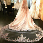 Wedding Bridal Veils with Comb White Champagne Cathedral Chapel Length Lace