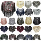 Women Ladies Vintage 1920s Sequin Beaded Shrug Shawl Evening Party Top Cover Up