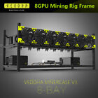 6/8 GPU Aluminum Stackable Open Air Mining Computer Frame Rig Ethereum Veddha T2