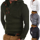 Mens Cable Knitted Hooded Sweater Jumper Winter Warm Slim Fit Pullover Tops