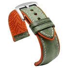 19mm 20mm 21mm 22mm 23mm 24mm Distressed Green Leather Rubber Watch Band Strap