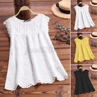 Women Summer Casual Lace Patchwork Tank Tops Eyelets Loose Blouse Cami Vest Tee