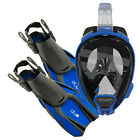 Ocean Reef Aria QR Duo Travel Ready Mask/Fins Set Diving, Snorkeling Blue