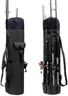 Allnice Durable Canvas Fishing Rod & Reel Organizer Bag Travel Carry Case Bag- H