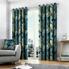 Fusion Tropical Print 100% Cotton Eyelet Lined Curtains, Multi