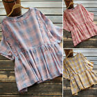 Women Fashion Vintage Short Sleeve Tops Shirt Plaid O-Neck Blouse T-Shirt Jumper