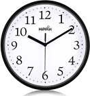 Wall Clock Silent Non Ticking Quality Quartz 10 Inch Round Easy To Read For Home