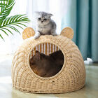 Solid Cat Bed Nest Wicker Cage Hand Woven Washable Interactive House Basket