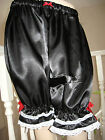Gothic Lolita French Maid Black White satin lace Sissy Long Bloomers Pantaloons