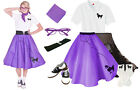 8 pc Purple Poodle Skirt Outfit (1950s Retro Vintage Ladies Petticoat Clothing)