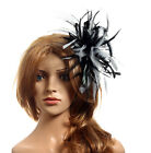 New black & grey feather Fascinator Hat races wedding