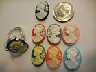 CAMEO RING .925 Sz 6 7 8 Black Blue Green Pink Red etc