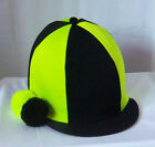 RIDING HAT COVER - BLACK & FLUORESCENT YELLOW