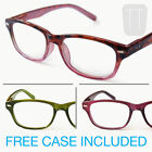 NEW WAYFARER READING GLASSES & CASE - T'SHELL, GREEN & PURPLE +1.5+2.0+2.50+3.00