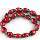 1string New Red Coccinella Lampwork Glass Beads Charms Fit Jewelry Making C