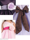 Girls Satin Sash & Flower 14 Colors To Choose Match Your Wedding Colors 12M-12