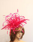 Hot Pink Feather Bride Wedding Ascot Races Fascinator Hat CHOOSE ANY COLOUR