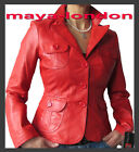 Designer Womens Red, Blue or Grey Blazer Leather Jacket Szs: 10, 12, 14, 16