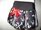 NEW Baby Girls Black white red skulls crossbones check pleated Skirt goth gift