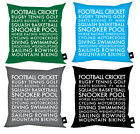 FATHERS DAY GIFT CUSHION SPORTS DESIGN VARIOUS COLOURS AVAILABLE