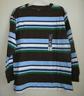Boys LS Striped Tee - Brown w/ Blue+White+Green - Size L-H (10H-12H)