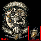 USMC Marine Corps Marines Black Bulldog Graphic T-Shirt FREE SHIPPING